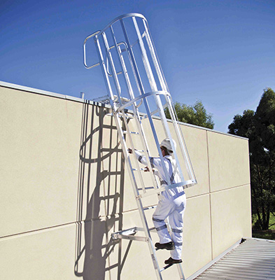 Person climbing safely to the roof using a caged ladder as part of a roof access system in Melbourne