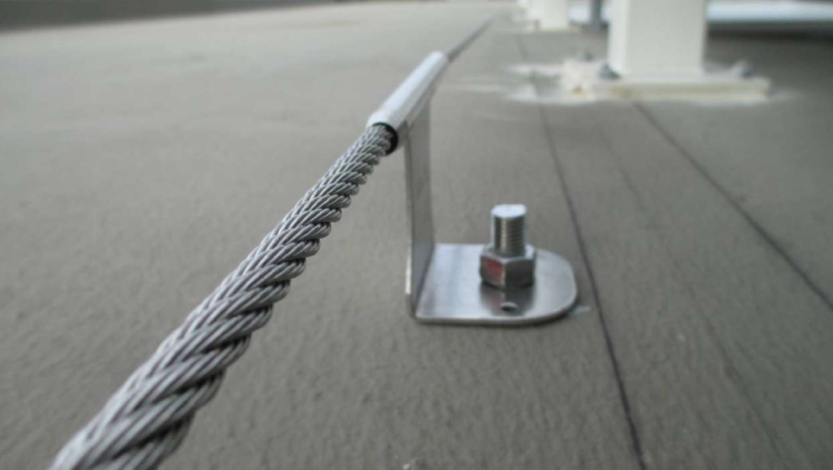 A static line anchor which forms part of many fall protection systems that we installed across Melbourne.